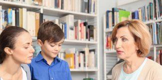 A mother meeting her son's teacher